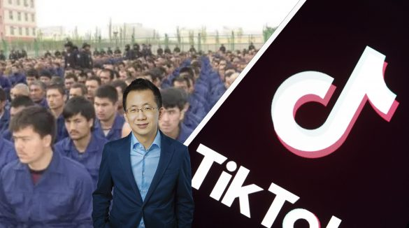TikTok owner Zhang Yiming in a photoshop edit in front of a picture of inmates in Chinese concentration camps