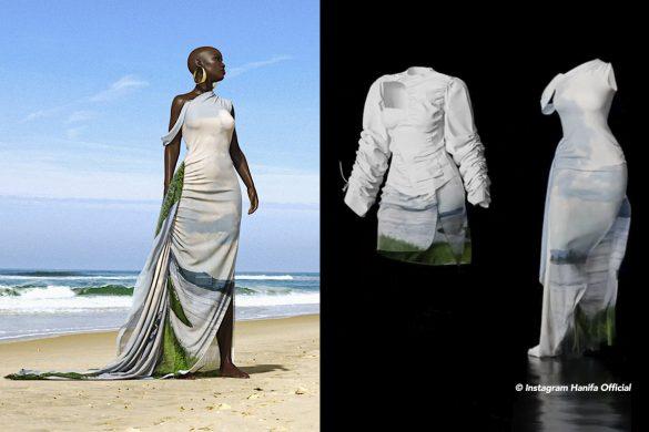 Woman on beach in dress.
