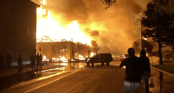 Burning building during riot in Minneapolis