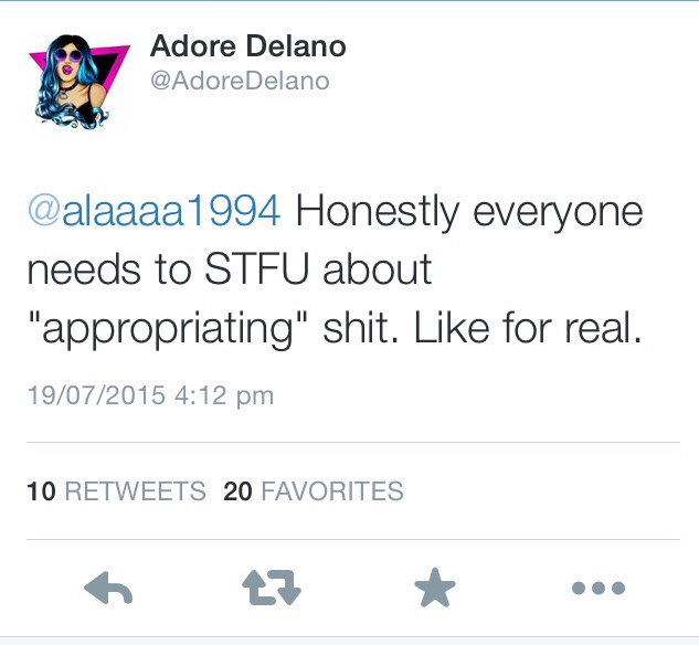 Screenshot of a Tweet by Adore Delano