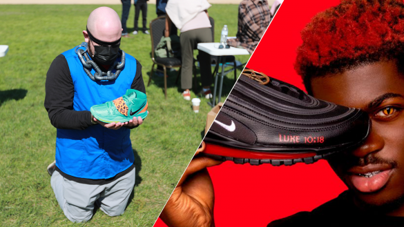 2 images shown. Image on the left shows protester holding Nike shoes produced by Uyghur people. Image on the right shows the rapper Lil Nas X holding his newly released 'satan' Nike shoe.