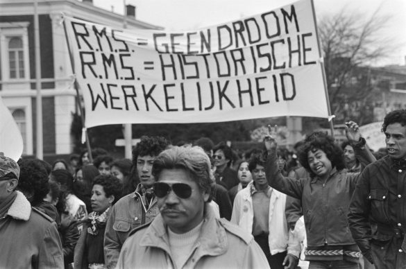 Moluccan people demonstrating